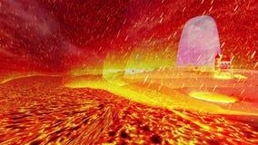 Odosobniona wyspa w morzu lawa, upał i spada meteory zbiory wideo