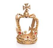 Odosobniona złota korona na białym tle obraz royalty free