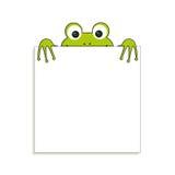 Odosobniona zielona żaba z białym papierem Miejsce dla jakaś teksta Może używać dla notatki lub pustego miejsca Zdjęcia Royalty Free