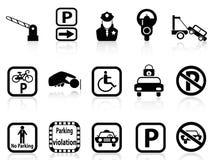 Samochodowe parking ikony Zdjęcia Royalty Free