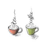 Odosobnione filiżanki herbata i kawa, ręka rysująca Obrazy Royalty Free