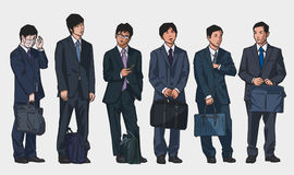 Odosobnione ilustracje młodzi azjatykci urzędnicy jest ubranym kostiumy w kolorze ilustracji