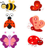 Odosobnione insekt ilustracje, pszczoły ilustracja, motyl ilustracje, biedronek ilustracje Obrazy Royalty Free