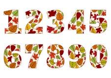 Odosobnione liczby od (0) 9 z tłem kolorowi jesień liście wektor ilustracja wektor