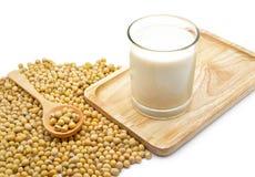 Odosobnione soj fasole i soi mleko w szkle zdjęcie stock