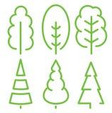 Odosobnione zielonego koloru wysokich drzew stare ilustracje Lineart projektuje wektorową lasową ikonę i loga set Parkowy i ogrod Zdjęcia Stock
