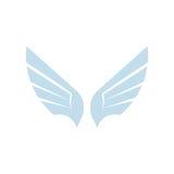Odosobnionego abstrakcjonistycznego błękitnego koloru elementu ptasi logo Rozprzestrzeniać uskrzydla z piórko logotypem Lot ikona Fotografia Royalty Free