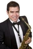 odosobnionego gracza saksofonowy biel Zdjęcia Royalty Free