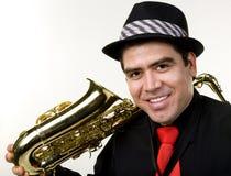odosobnionego latynoskiego gracza saksofonowy biel Zdjęcie Royalty Free
