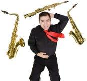 odosobnionego latynoskiego gracza saksofonowy biel Fotografia Stock