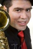 odosobnionego latynoskiego gracza saksofonowy biel Obrazy Stock