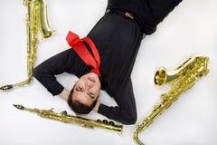 odosobnionego latynoskiego gracza saksofonowy biel Zdjęcie Stock
