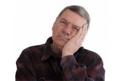 odosobnionego mężczyzna portreta starszy biel Zdjęcia Royalty Free