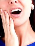 odosobnionego strzału pracowniana toothache biała kobieta Zdjęcia Stock