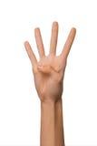 Odosobnionej Pustej otwartej kobiety żeńska ręka w pozyci liczba Cztery na białym tle Fotografia Stock