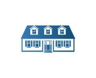 Odosobniony abstrakcjonistyczny błękitny koloru domu konturu logo Nieruchomość budynku logotyp Zakup majątkowa biznesowa ikona Zdjęcie Stock