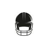 Odosobniony abstrakcjonistyczny czarny koloru baseballa hełma loga o bielu tło Sporta zawodowego wyposażenia logotyp migreny Zdjęcie Royalty Free