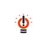 Odosobniony abstrakcjonistyczny czerwonego koloru żarówki logotyp, oświetleniowy logo na białym tle, okrzyk oceny wektoru ilustra ilustracja wektor