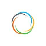 Odosobniony abstrakcjonistyczny kolorowy kółkowy słońce logo Round kształta tęczy logotyp Zawijasa, tornada i huraganu ikona, Spi Obraz Royalty Free