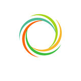 Odosobniony abstrakcjonistyczny kolorowy kółkowy słońce logo Round kształta tęczy logotyp Zawijasa, tornada i huraganu ikona, Spi Fotografia Stock