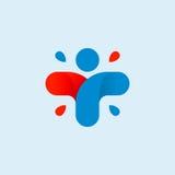 Odosobniony abstrakcjonistyczny kolorowy przecinający logo Ludzki sylwetka logotyp czarny zmiany ikony wątrobowy medyczny ochrony Zdjęcia Stock