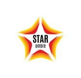 Odosobniony abstrakcjonistyczny pomarańczowy kolor gwiazdy konturu logo na białym tle Oszacowywać i ilości dekoracyjny element Fotografia Stock