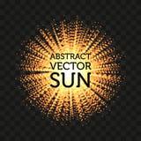 Odosobniony abstrakcjonistyczny round kształta słońca wektoru olśniewający tło Sunbeams tło Obrazy Royalty Free