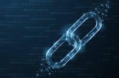 Odosobniony Abstrakcjonistyczny wektoru łańcuch Wireframe łańcuchu element na błękitnym tle Kulisowa ochrona, blockchain technolo ilustracji