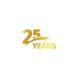 Odosobniony abstrakcjonistyczny złoty 25th rocznicowy logo na białym tle 25 numerowy logotyp Dwadzieścia pięć rok jubileuszowych ilustracji