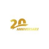 Odosobniony abstrakcjonistyczny złoty 20th rocznicowy logo na białym tle 20 numerowy logotyp Dwadzieścia rok jubileuszu świętowan Obraz Stock