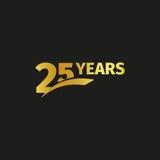Odosobniony abstrakcjonistyczny złoty 25th rocznicowy logo na czarnym tle 25 numerowy logotyp Dwadzieścia pięć rok jubileuszowych Zdjęcie Royalty Free