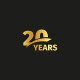 Odosobniony abstrakcjonistyczny złoty 20th rocznicowy logo na czarnym tle Obraz Stock