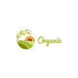 Odosobniony abstrakcjonistyczny zielonego koloru round kształta pogodny łąkowy logo, rolnicza logotypu wektoru ilustracja ilustracji