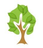 Odosobniony abstrakt zieleni wektoru drzewo Obraz Royalty Free