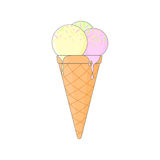 Odosobniony barwiony lody rożek z różowymi żółtymi i zielonymi piłkami lody na białym tle ilustracja wektor