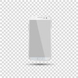 Odosobniony biały smartphone szablon z przejrzystym ekranem Wektorowa ilustracja eps10 Obraz Royalty Free