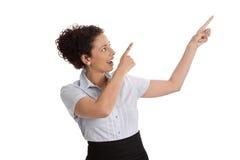 Odosobniony bizneswomanu przedstawiać z ukosa z palcem obrazy royalty free