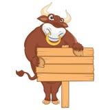 Odosobniony byk z sztandaru wektoru ilustracją Zdjęcie Stock
