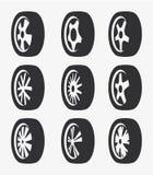 Odosobniony czarny i biały koloru aliaż toczy logo kolekcję, samochodowego elementu logotypu ustalona wektorowa ilustracja Fotografia Stock