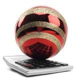 Odosobniony Czerwony ornament Na kalkulatorze Zdjęcia Royalty Free