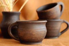 Gliniane ceramiczne filiżanki Fotografia Royalty Free
