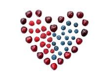 Odosobniony jagodowy serce Zdjęcia Stock
