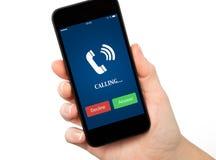 Odosobniony kobiety ręki mienia telefon z błękitnym ekranem i telefonem Zdjęcie Royalty Free