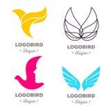 Odosobniony kolorowy latających ptaków loga wektorowy set Zwierzęcy logotypy inkasowi Obrazy Royalty Free