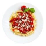odosobniony makaronu talerza pomidor Zdjęcie Royalty Free