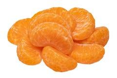 odosobniony mandarine Zakończenie-w górę świeży dojrzały obrany mandarynka pomarańcze tangerine lub clementine odizolowywać na bi obrazy royalty free