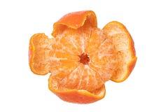 odosobniony mandarine Zakończenie-w górę obrany świeży dojrzały mandarynka pomarańcze tangerine lub clementine odizolowywać na bi zdjęcie royalty free