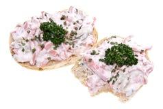 odosobniony mięsnej rolki sałatkowy biel Obraz Royalty Free