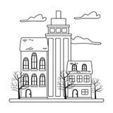 Odosobniony miasta i drzew projekt royalty ilustracja