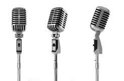 odosobniony mikrofonu rocznika biel Obrazy Royalty Free
